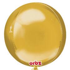 "GOLD Orbz 16"" Sphere HELIUM Foil BALLOONS Wedding Birthday PARTY Balloon"