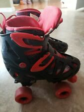 Youth Rd Roller Derby Skates Sz 3 4 5 6 Adjustable red and black