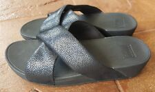 Fitflop Swoop Slide Black Shimmer Criss Cross Platform Sandals Women 10 42