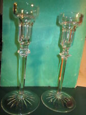 "VTG ROGASKA handmade in Yugoslavia pair of 2 Lead Crystal 8"" Tall Candlesticks"