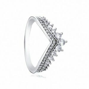 Solid 925 Sterling Silver Sparkling Princess Wishbone Crystal Stone Ring Gift