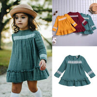 Toddler Kids Baby Girl Cute Long Sleeve Solid Lace Ruffle Princess Dress Clothes