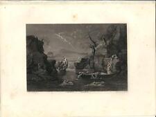 Stampa antica DILUVIO UNIVERSALE Bibbia Nicolas Poussin 1857 Old antique print