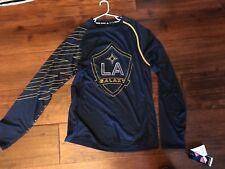 NEW Adidas 100% Poly Blue Long Sleeve LA Galaxy Shirt in Mens Size Small