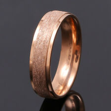 Men Women Stainless Steel Rose Gold Filled Band Ring Wedding Engagement Size 12