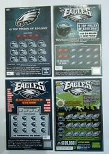 Philadelphia Eagles SV Instant Lottery tickets,  4 different, neat collectable