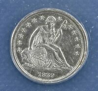1839 Seated Liberty Dime 10C - ANACS AU 55 Details - Rare Certified Coin!