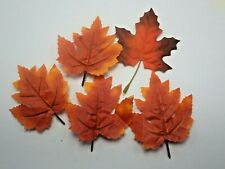 A 5 Artificial Autumn maple Tree Leaves Decorative Fabric Leaves  Red  Orange