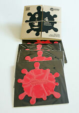 Set of 4 Coasters CONTEMPORARY FUNKY RED SPLATS & Storage Box - Gift, Novelty
