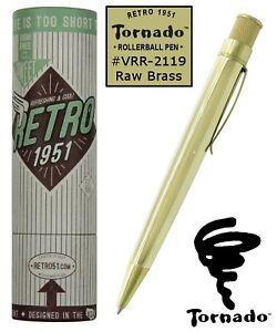 Retro 51 Raw Brass #VRR-2119 Twist Action Tornado Rollerball Pen