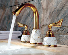 """gold and white 8"""" widespread bathroom Lav Sink faucet mixer tap 3 Holes new 2016"""