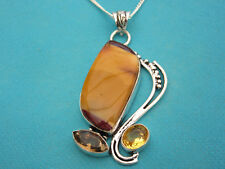 925 Sterling Silver Pendant With Natural Mookaite, Citrine & Quartz  (nk1747)