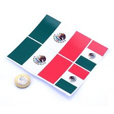 "Mexico Flag Stickers x4 3"" & 2"" Mexican Car Vinyl Rally Racing Window Decals"