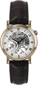 Rotary Men's Mechanical Watch with White Dial Analogue Display and Brown Leather