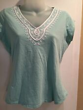 Cute GAP Women's Blouse V neck embroidered color mint Sz small 100%Cotton