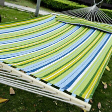 heavy duty quilted fabric double hammock with pillow spreader bar 2 person swing unbranded hammocks with spreader bar   ebay  rh   ebay