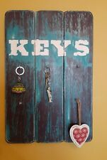 Handmade wall plaque hooks gift  present kitchen keys home shabby chic country