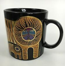 Laurel Burch Black Gold Leaf Tigers Theme Collectable Series Coffee Cup Mug
