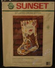 Suntset Dimensions Counted Cross Stitch Stocking Kit Santa Xmas