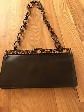 ESCADA Leather Brown Chain Clutch Shoulder b04cf98fbb1d9