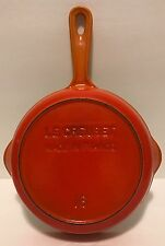 "Le Creuset #16 6 1/2"" Flame Orange Cast Iron Enamel Skillet Pan Vintage"