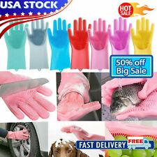 1Pair Magic Silicone Dishwashing Scrubber Rubber Scrub Gloves Kitchen Clean