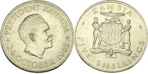 elf  Zambia 5 Shillings 1965 1st Anniversary of Independence