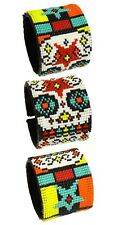 "BR603 Day of The Dead Skull Star Wrap Cuff Czech Glass Seed Beads 7.5"" Guatemala"