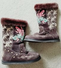 ED HARDY DESIGNER WOMANS HAND PAINTED KOI WINTER BOOTS SZ 7