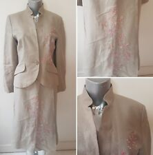 BEIGE/NUDE LINEN SKIRT SUIT SIZE 8 PINK FLORAL EMBROIDERY NEXT WEDDING GUEST