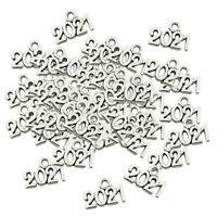 Tibetan Silver Number 2021Years Jewelry Charm Pendants 100pcs for DIY Necklace