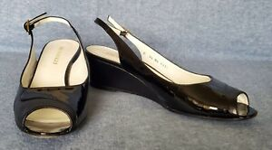 BRUNO MAGLI Size 9.5 Black Leather/Patent Leather Peep Toe Wedge Heels Slingback
