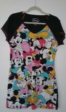 WOMENS DISNEY MICKEY MOUSE BLACK COTTON SLEEPSHIRT NIGHTGOWN SZ S/M