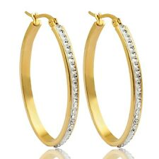 Simple Design Clear Round Cubic Zircon Stainless Steel Gold Plated Hoop Earrings