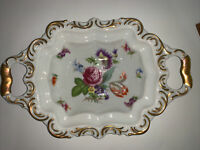 """Lindner Kueps Bavaria Dresden Flowers Ornate Hand-Painted 12"""" Porcelain Bowl"""
