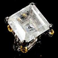 Unique Ring Natural Rutilated Quartz 925 Sterling Silver Ring Size 8.5/R111235