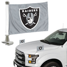 Oakland Raiders Set of 2 Ambassador Style Car Flags - Trunk, Hood