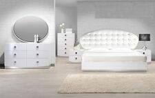 Modern White France Leather Queen Bedroom set 4 Pc Crystal Bed Furniture Frame