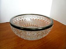 Lovely Vintage Clear Glass Serving Bowl with Silver Rim Teardrop and Diamond