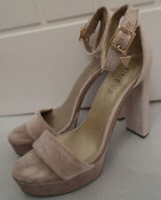 GUESS VELVET DUSKY PINK CHUNKY HEEL STRAPPY SANDALS HEELS SHOES SIZE 7.5M UK 5