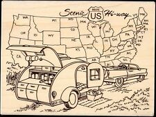 STAMPENDOUS rubber stamp TRAILER TRAVEL wood mounted, Car Map Ex-Large