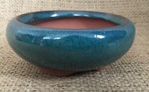 Shohin Size Green Glazed Round Bonsai Pot 8.5x3.5cm