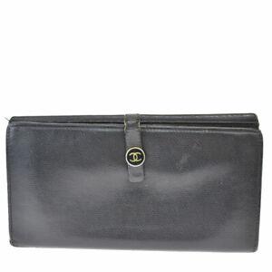 Auth Chanel CC Logo Women's Leather Long Wallet (tri-fold) Black 08GD021
