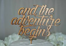 Rustic Wooden Cake Topper, And the Adventure Begins, Wedding, Engagment, Love