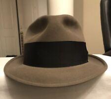 Vintage Dobbs Twenty Brown Stingy Brim Fedora Hat Size 7 3/8