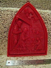 Carved Wax Nativity Plaque Red Wax