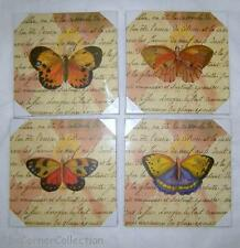 SET of 4  WALL DECOR PLAQUES DIFFERENT BUTTERFLYS