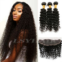 "Brazilian Hair Deep Wave 3 Bundle with Frontal Lace Closure 13""x4"" Human Hair"