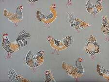 "Clarke and Clarke Rooster Taupe Chickens Fabric 137cm/54"" wide"