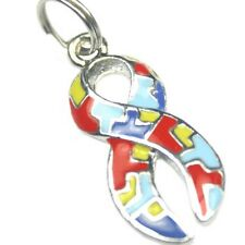 Autism Awareness Charms Puzzle Piece Ribbon Aspergers Jigsaw Lot of 10